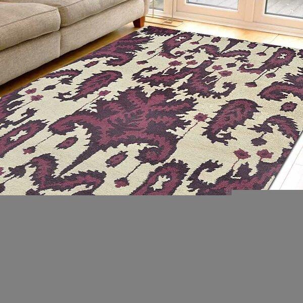 Aarav Hand-Tufted Wool Cream/Purple Area Rug by House of Hampton