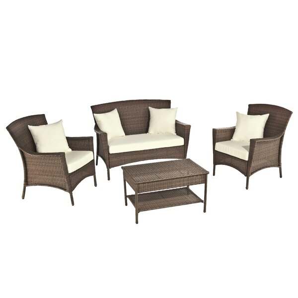 Odessa 4 Piece Sofa Set with Cushions by Bayou Breeze