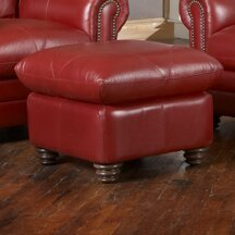 Priddy Leather Ottoman By Red Barrel Studio