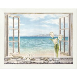 'Ocean View' Framed Oil Painting Print by East Urban Home