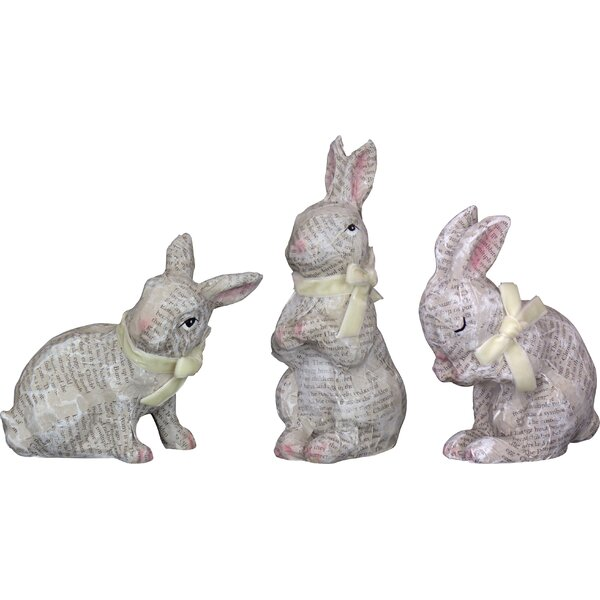 Varela 3 Piece Decoupage Bunny Figurine Set by August Grove