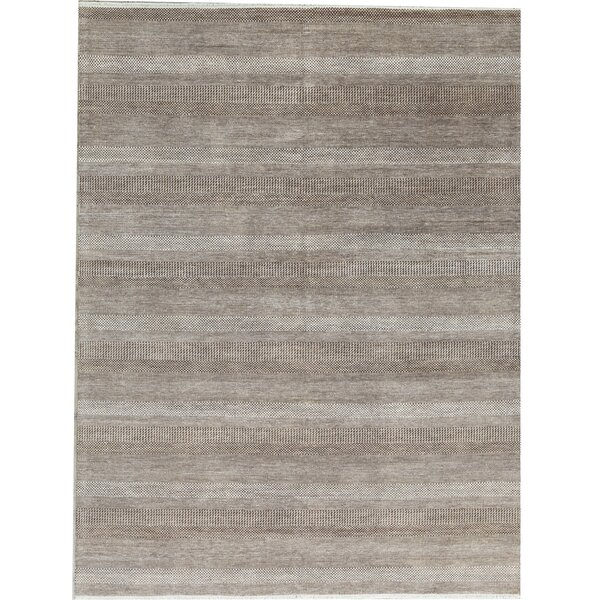 Striped Hand-Knotted Brown/Silver Area Rug