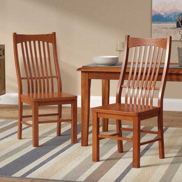 Corwin Solid Wood Slat Back Side Chair in Brown (Set of 2) by Loon Peak Loon Peak