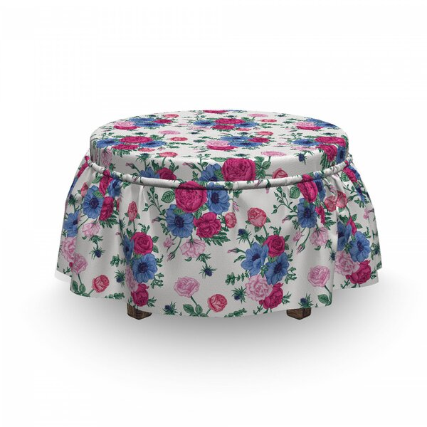 Bridal Bouquets Ottoman Slipcover (Set Of 2) By East Urban Home
