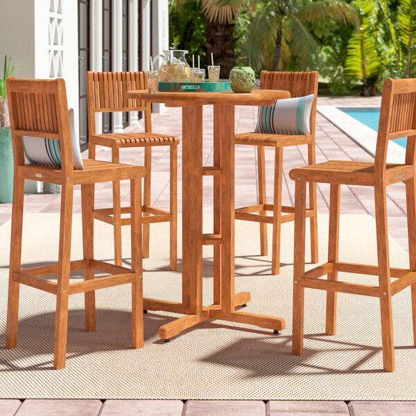 Elsmere 4 Piece Teak Bar Height Dining Set by Beachcrest Home