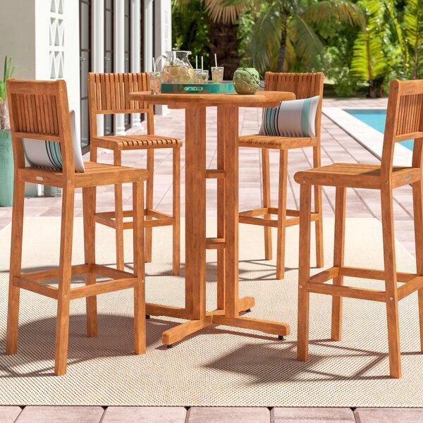 Elsmere 4 Piece Teak Bar Height Dining Set By Beachcrest Home by Beachcrest Home Best Choices