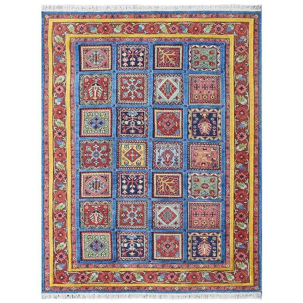 Rackers Sumak Hand-Knotted Wool Blue/Red Area Rug by World Menagerie