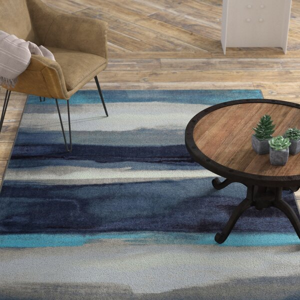 Labombard Canvas Contemporary Modern Blue/Gray Area Rug by Williston Forge