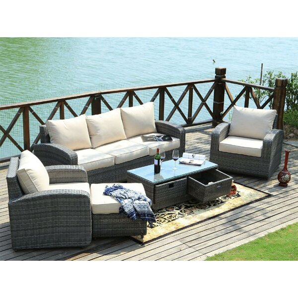 Ilfracombe 5 Piece Rattan Sofa Seating Group with Cushions by Brayden Studio