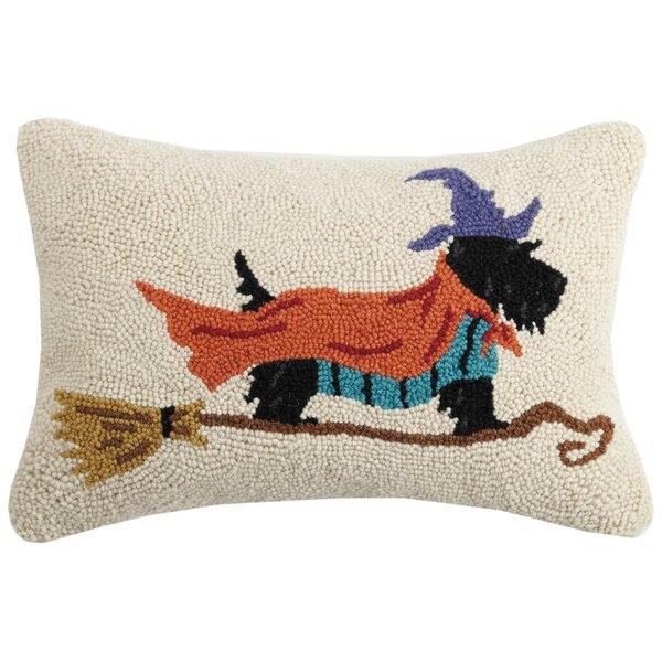Mckissick Terrier Witch Hook Wool Lumbar Pillow by The Holiday Aisle