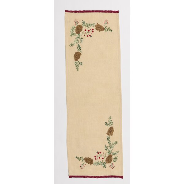 Bester Pinecone Embroidered Table Runner by The Holiday Aisle