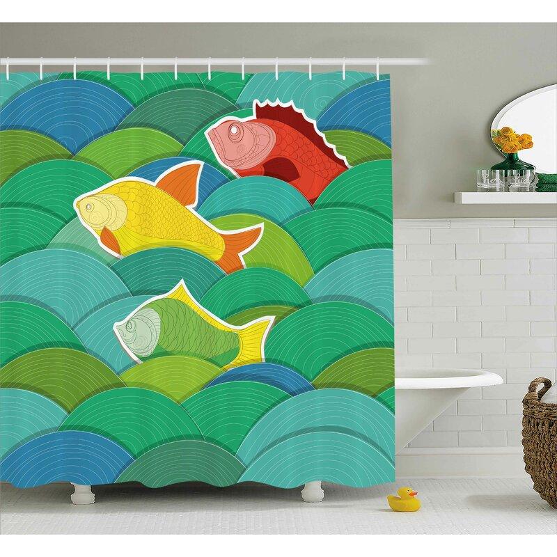 Gunner Sea Marine Waves Funky Shower Curtain