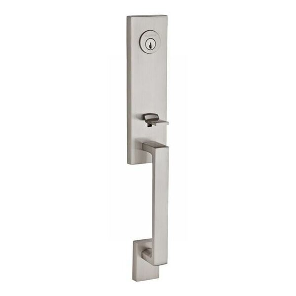 Seattle Single Cylinder Handleset with Square Door Lever and Contemporary Round Rose with Smartkey by Baldwin