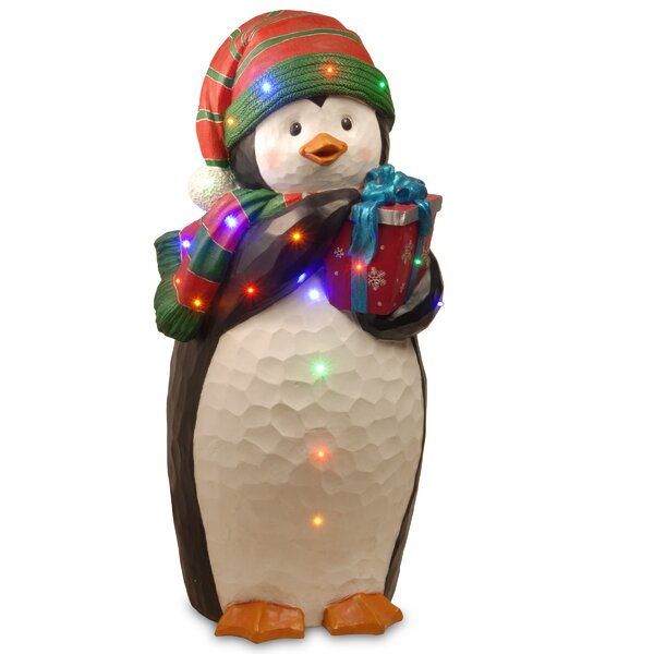 Penguin Holding Gift Christmas Decoration by National Tree Co.