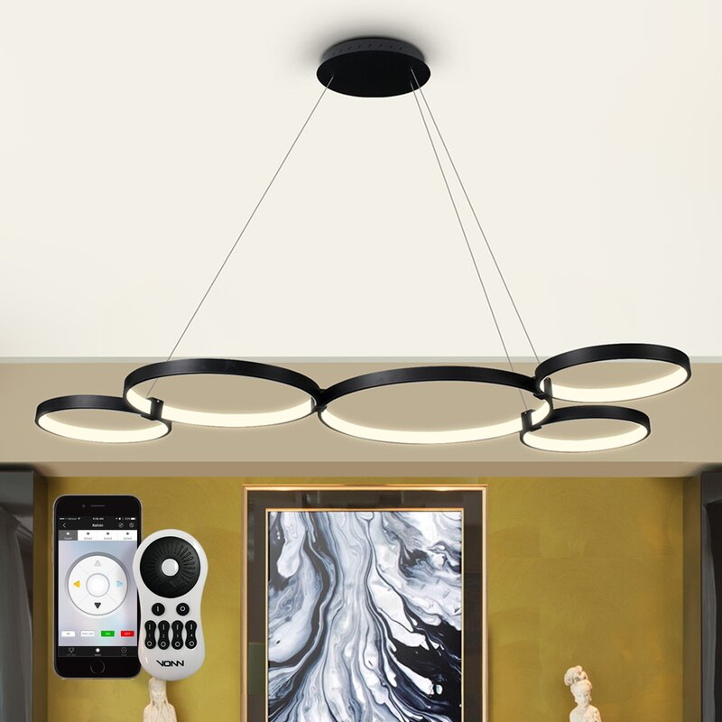 Doveton WiFi-Enabled Tunable 5-Light LED Geometric Chandelier ...