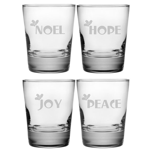 Joy Peace Noel Hope Double Old Fashioned Glass by Susquehanna Glass