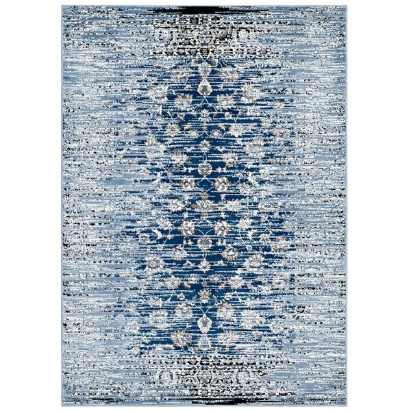 Crader Distressed Floral Lattice Contemporary Morrocan Blue Area Rug by Wrought Studio