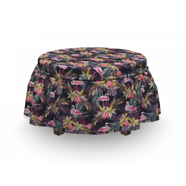 Tropical Summer Flora Flamingo Ottoman Slipcover (Set Of 2) By East Urban Home