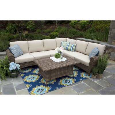 One Allium Way Rattan Sunbrella Sectional Seating Group Cushions Seating Groups