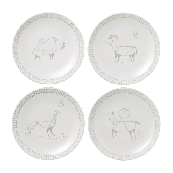 Cave Animal 4 Piece 6 Bread and Butter Plate Set by ED Ellen DeGeneres Crafted by Royal Doulton
