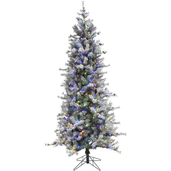 Buffalo Slim Snow/Green Fir Trees Artificial Christmas Tree with 400 with Colored and White HLED String Lights by The Holiday Aisle