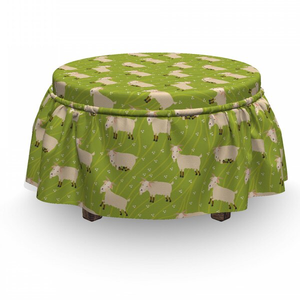 Goats On Field Ottoman Slipcover (Set Of 2) By East Urban Home