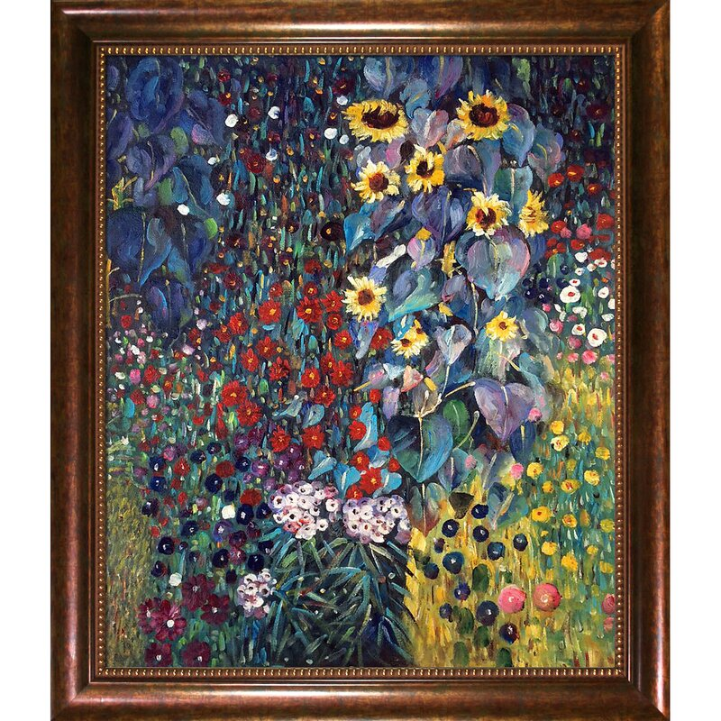 Farm Garden With Sunflowers By Gustav Klimt Framed Painting