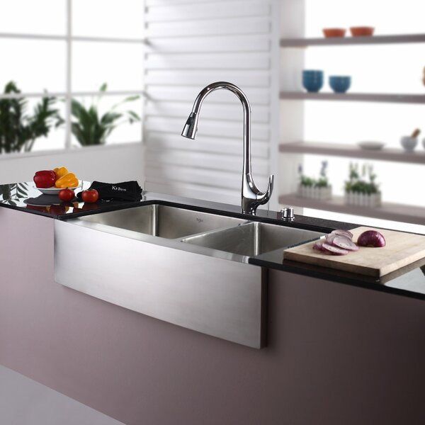 35.88 L x 20.75 W Double Basin Farmhouse Kitchen Sink with Faucet and Soap Dispenser by Kraus