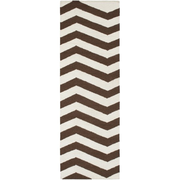 Diego Chocolate & Ivory Area Rug by Ebern Designs
