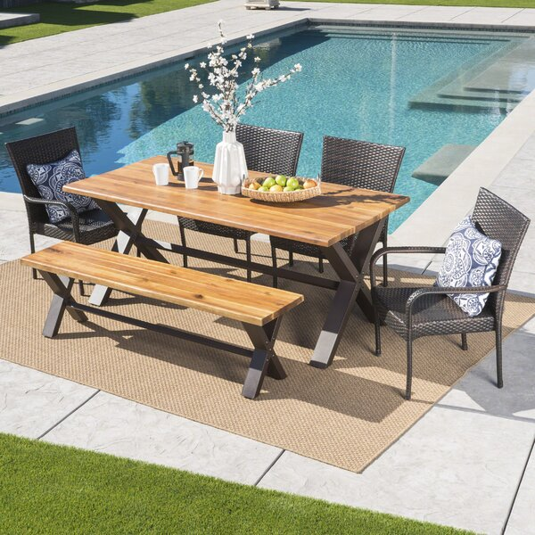 Arbouet Outdoor 6 Piece Dining Set by Brayden Studio