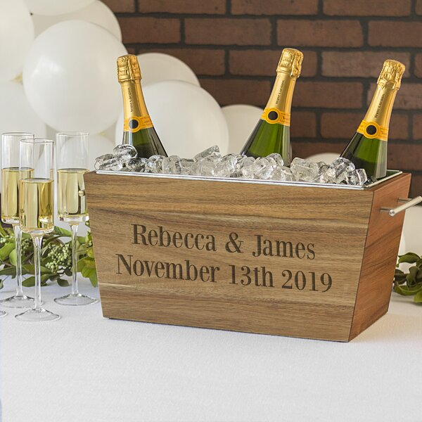 Owings Personalized Acacia Wine Beverage Tub by Wrought Studio
