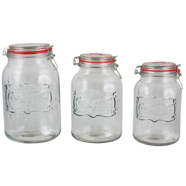 Coca-Cola Country Embossed Glass 4 Qt. 3 Piece Storage Jar by Gibson
