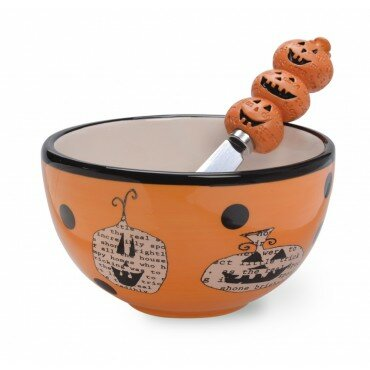 Pumpkin Toss Cereal/Soup Bowl and Spreader Set (Set of 2) by Boston International