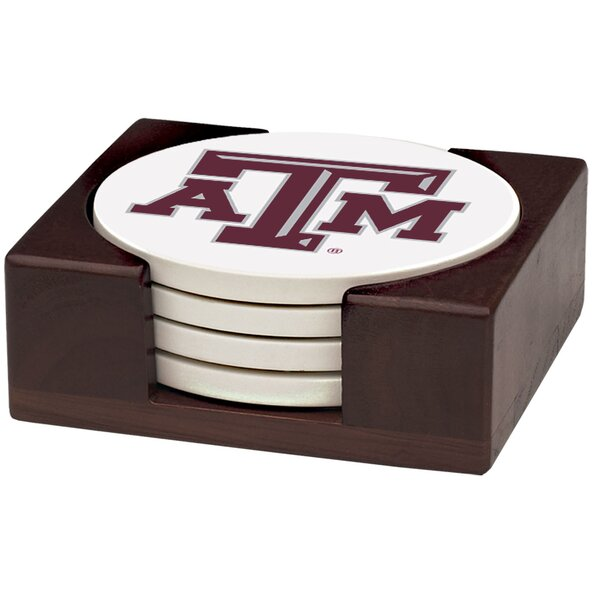 5 Piece Texas A & M University Wood Collegiate Coaster Gift Set by Thirstystone