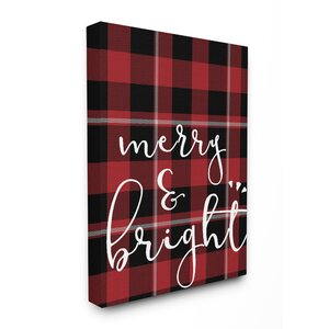 'Merry & Bright Plaid Typography' Textual Art