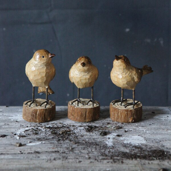 Secret Garden 3 Piece Resin Bird Figurine Set by Creative Co-Op