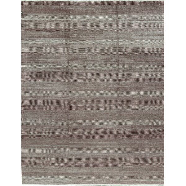 Striped Hand-Knotted Wool Wine/Silver Area Rug