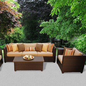 Barbados Outdoor Wicker 6 Piece Deep Seating Group with Cushion