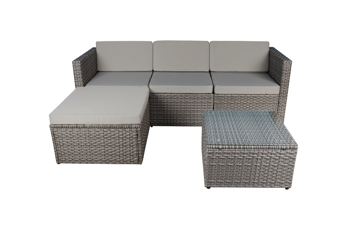 Small Scale Outdoor Furniture Part - 29: Outdoor Small 3 Piece Sectional Seating Group With Sunbrella Cushion