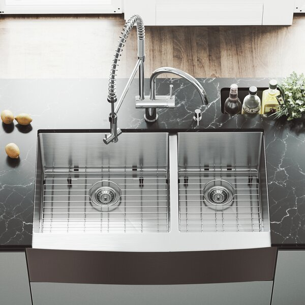 36 inch Farmhouse Apron 60/40 Double Bowl 16 Gauge Stainless Steel Kitchen Sink with Dresden Chrome Faucet, Two Grids, Two Strainers and Soap Dispenser by VIGO