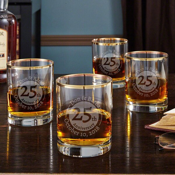 Gold Rim Landmark Anniversary 10 oz. Whiskey Glass (Set of 4) by Home Wet Bar