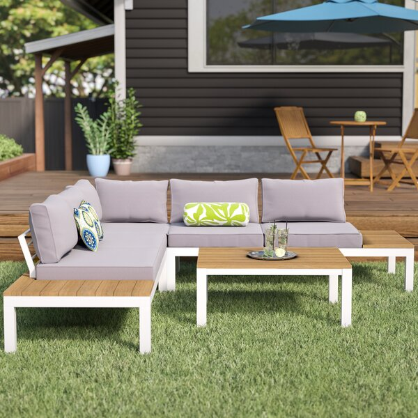 Schneider 4 Piece Sectional Seating Group with Cushion by Mistana