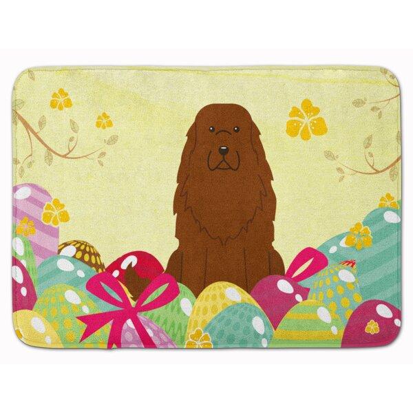 Easter Eggs Caucasian Shepherd Dog Memory Foam Bath Rug by The Holiday Aisle