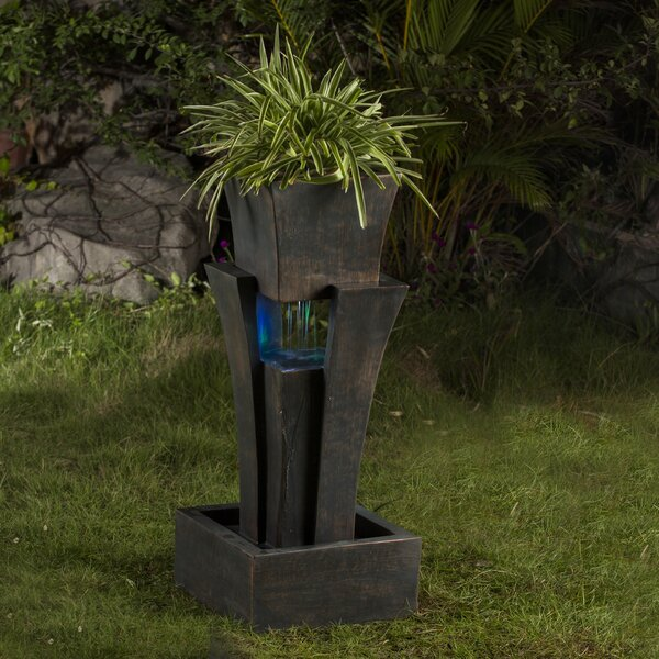 Resin/Fiberglass Tiered Raining Fountain with LED Light by Jeco Inc.
