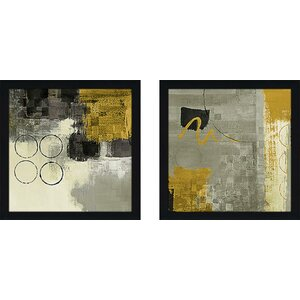 Golden Desert II' 2 Piece Framed Acrylic Painting Print Set Under Glass by Wrought Studio