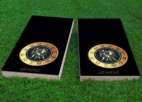 Zodiac Gemini Themed Cornhole Game (Set of 2) by Custom Cornhole Boards