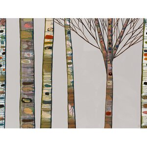 'Birch Tree Branches on Light Gray' by Eli Halpin Print of Painting on Paper by GreenBox Art