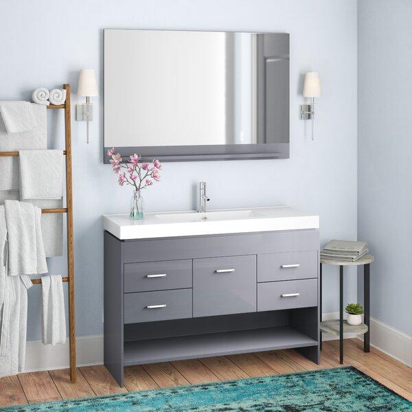 Frausto 47 Single Bathroom Vanity Set with Ceramic Top and Mirror