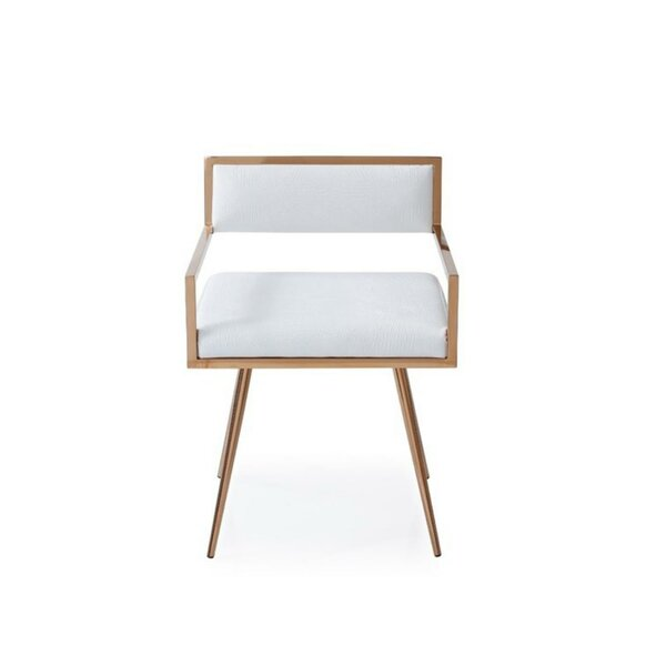Westlund Upholstered Metal Arm Chair In White By Everly Quinn