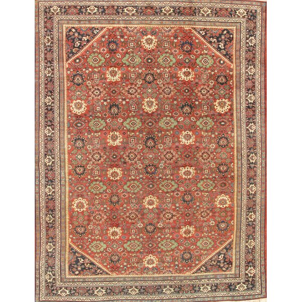 One-of-a-Kind Mahal Hand-Knotted Traditional Style Rust 10'3 x 13'6 Wool Area Rug